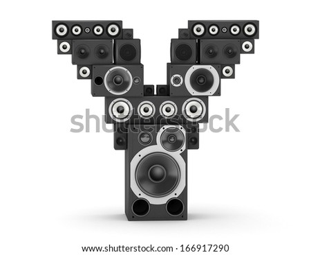 Letter Y from black hi-fi speakers sound systems - stock photo