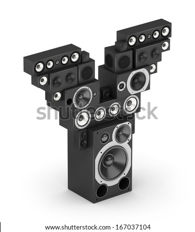 Letter Y from black hi-fi speakers sound systems  in isometry - stock photo