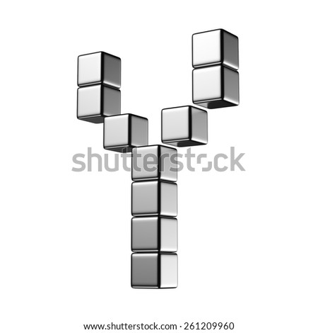 Letter Y from digital cube middle perspective alphabet. There is a clipping path - stock photo