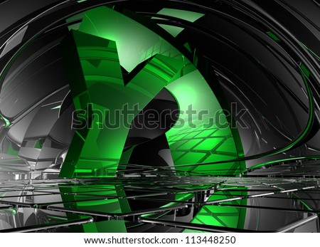 letter y in abstract futuristic space - 3d illustration