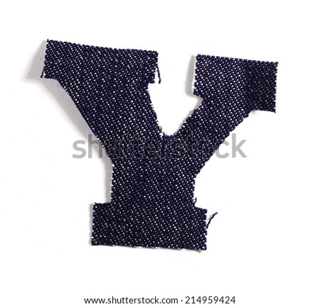 Letter Y. Jeans alphabet Isolated on White. Handmade font. - stock photo