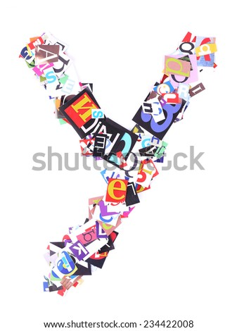 Letter Y made of colorful newspaper letters isolated on white - stock photo