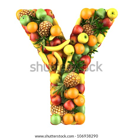 Letter - Y made of fruits. Isolated on a white.