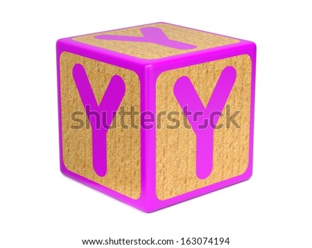 Letter Y on Pink Wooden Childrens Alphabet Block  Isolated on White. Educational Concept. - stock photo