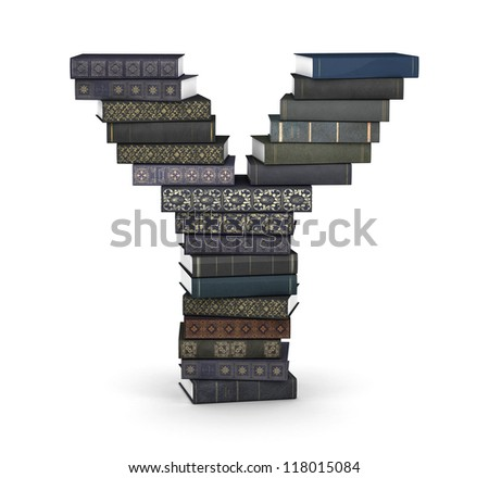 Letter Y, stacked from many  books in pile - stock photo