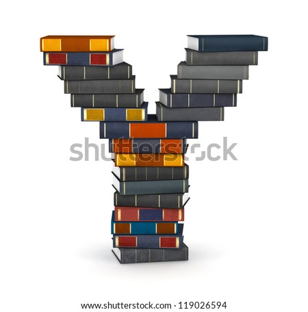Letter Y, stacked from many encyclopedic books in pile - stock photo