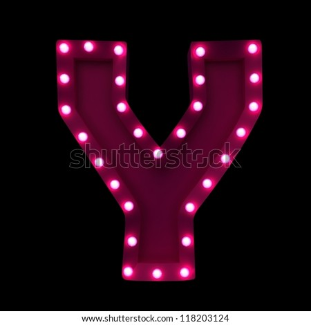 letter Y with neon lights isolated on black background - stock photo