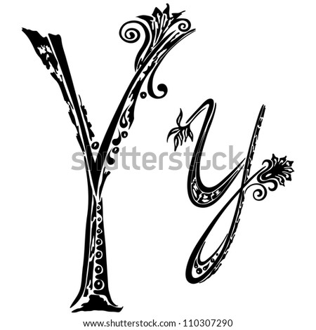 Letter Y y in the style of abstract floral pattern on a white background - stock photo