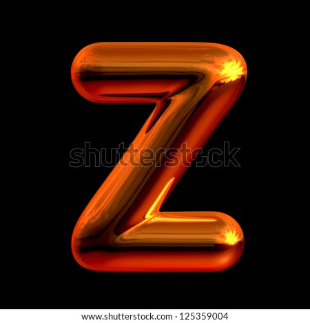 Letter Z from chrome orange sunset alphabet. There is a clipping path - stock photo