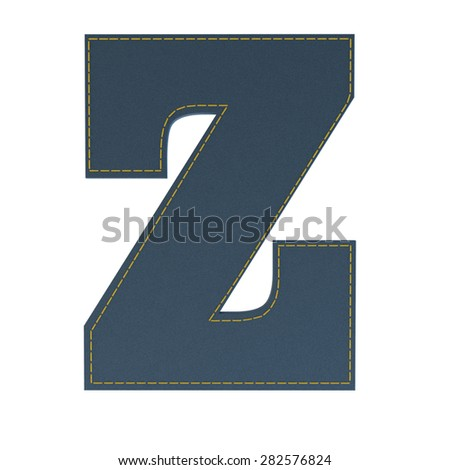 letter z from denim - jeans, on a white background, high specification of fabric, it is stitched by the yellow high-detailed threads - stock photo