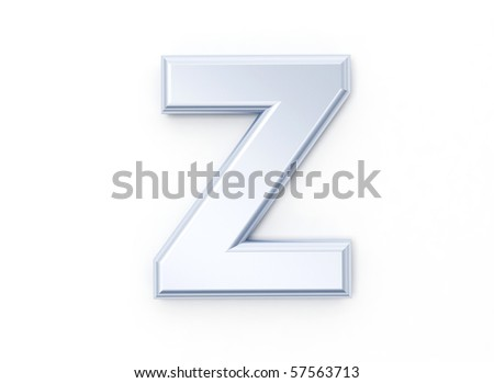 Letter Z in brushed metal on a white isolated background