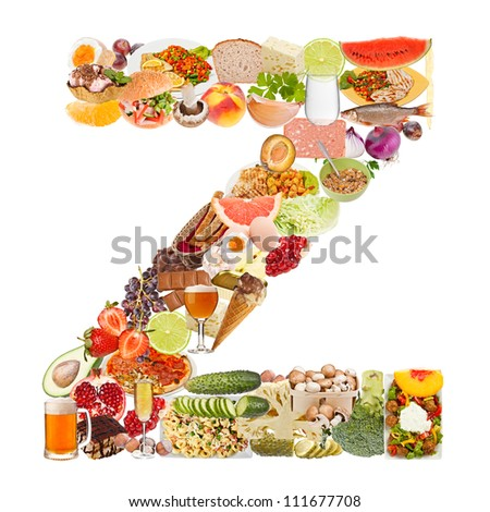 Letter Z made of food isolated on white background