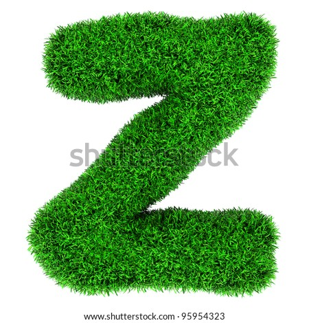 Letter Z, made of grass isolated on white background. - stock photo