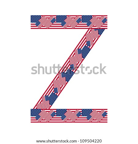 Letter Z made of USA flags