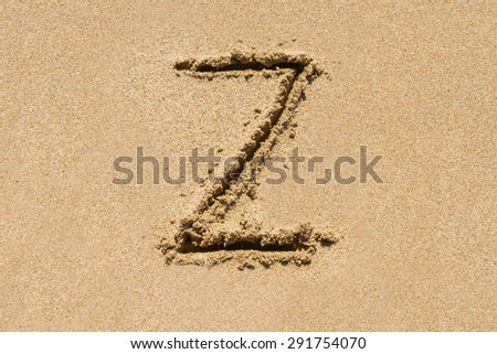 Letter Z of the alphabet written on sand with upper case. - stock photo