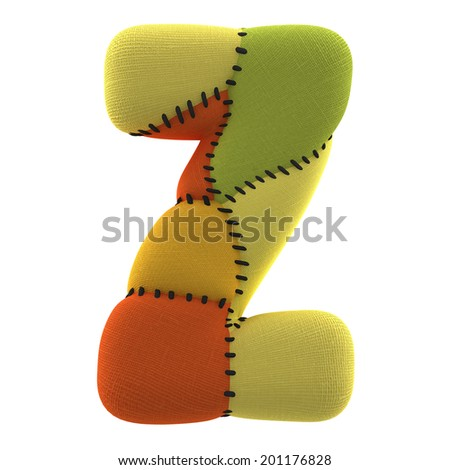 Letter Z. Textile toy font  isolated on White Background. - stock photo
