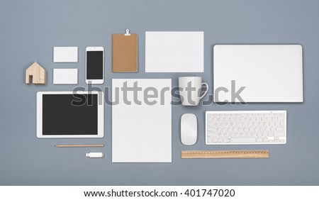 Letterhead and responsive design mockup - stock photo