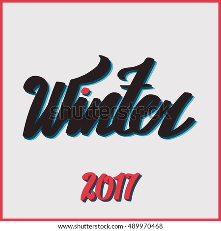 "Lettering ""Hello Winter"". hand drawing font. Twisted inscription. Individual letters. Uppercase letters. Retro style. Vintage"
