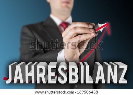 Lettering of the German word Jahresbilanz with business man is drawing an increasing arrow