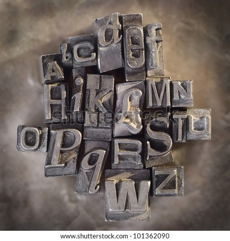 Letterpress letters vintage grunge alphabet background - stock photo