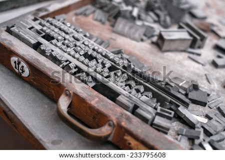 Letterpress type characters of letter - Typography - stock photo