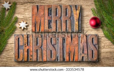 Letterpress wood type printing blocks - Merry Christmas - stock photo