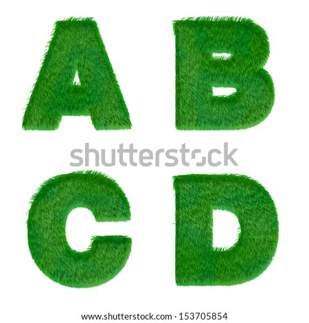 Letters a,b,c,d made of green grass isolated on white - stock photo