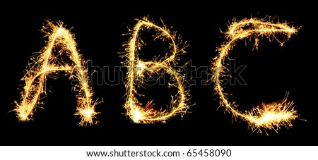 Letters A B C made of sparkler