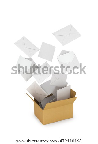 letters and envelopes  fly out from a cardboard box. 3D illustration