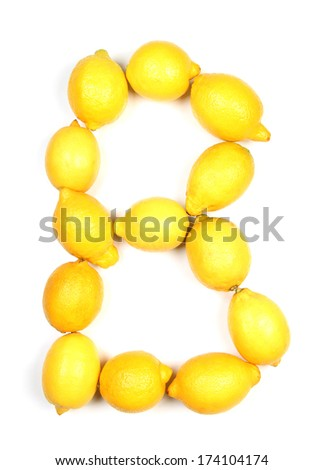 Letters and numbers alphabet of fresh lemon
