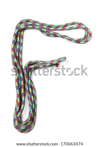 Letters and numbers alphabet of rope on a white background