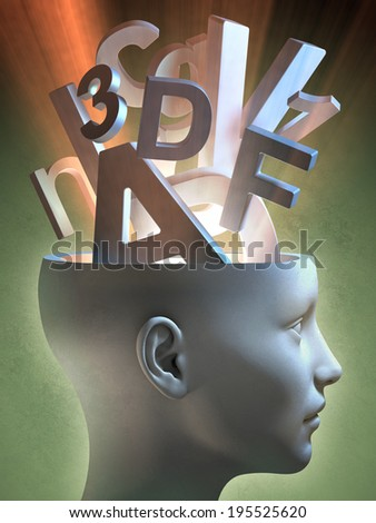 Letters and numbers coming out of an open head. Digital illustration. - stock photo