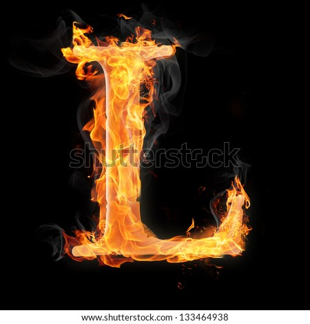 Letters and symbols in fire - Letter L. - stock photo