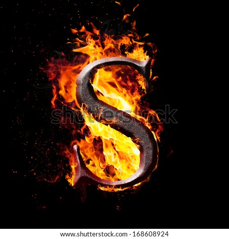 Letters and symbols in fire - Letter S.