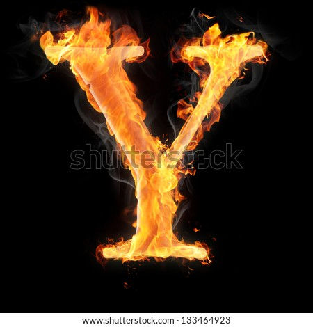 Letters and symbols in fire - Letter Y.