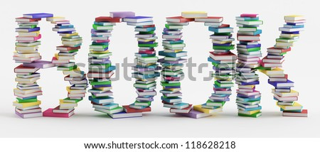 Letters are made of colorful books - stock photo