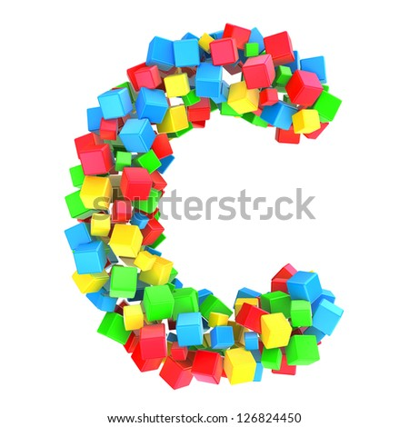 letters C of colorful cube