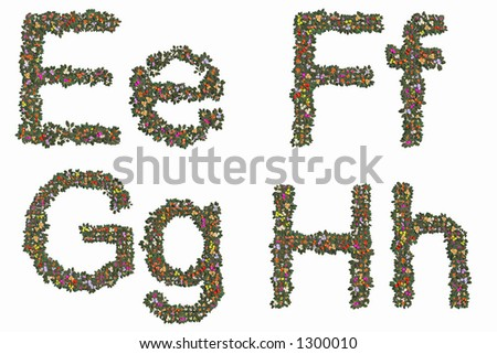 Letters e, f, g and h. Mix and Match to make your own words. - stock photo