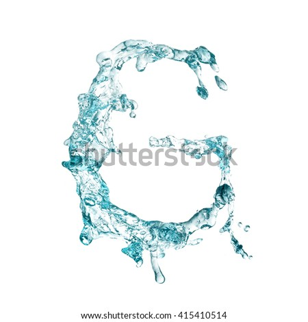 letters from water splash on white background