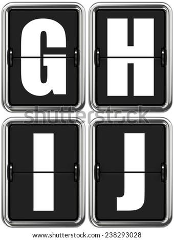 Letters G H I J - Set of Alphabet on Mechanical Scoreboard. - stock photo