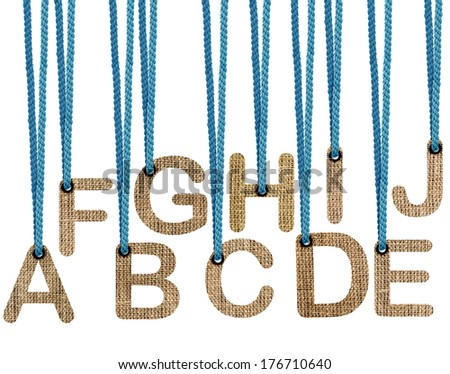 Letters hanging strings isolated on white background .  (with clipping work path) - stock photo