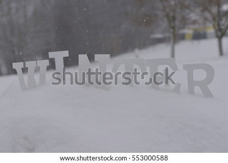 Letters in the snow