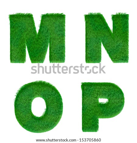 Letters m,n,o,p made of green grass isolated on white - stock photo