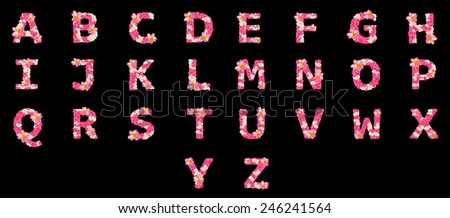 Letters made of flowers, English alphabet, colorful flower font - stock photo