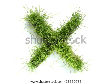 Letters made of grass - X - stock photo