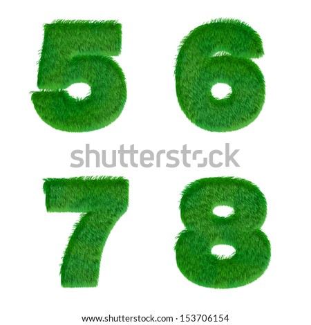 Letters 5, 6, 7, 8 made of green grass isolated on white - stock photo