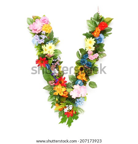 Flower letter v stock images royalty free images vectors letters made of leaves and flowers altavistaventures Choice Image