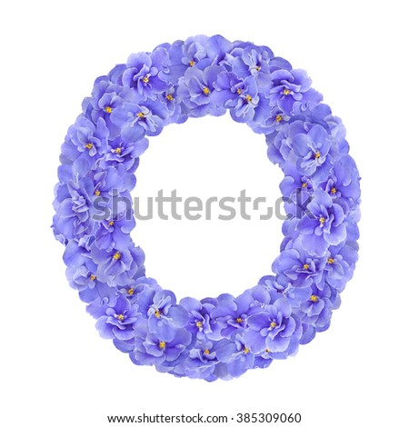 Letters made of violet flowers. O - flower alphabet - stock photo