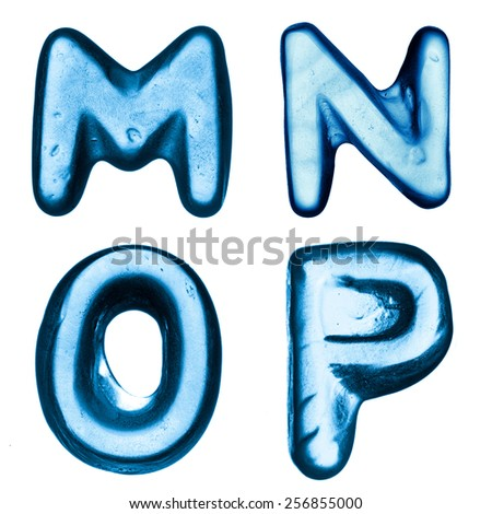 Letters of ice alphabet. Set of letters M, N, O, P - stock photo