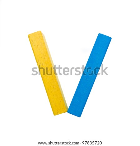 "Letters of the alphabet, composed of colorful wooden toy blocks. The letter ""V"" isolated on a white background with clipping path."
